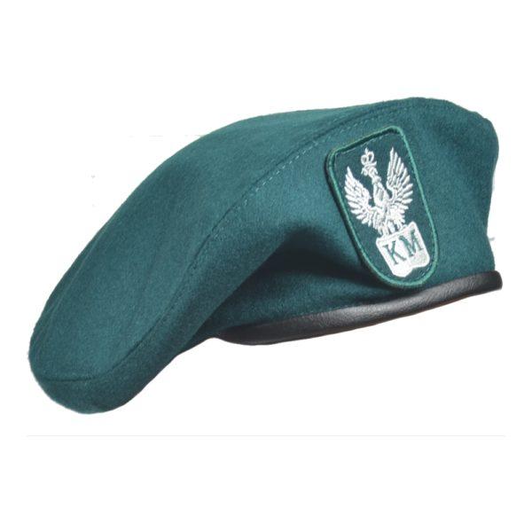 Beret Militarny z Orzełkiem KM Ciemnozielony
